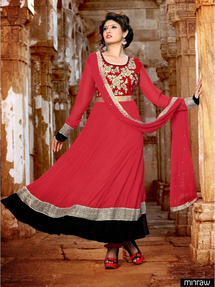 Gorgeous red long anarkali suit