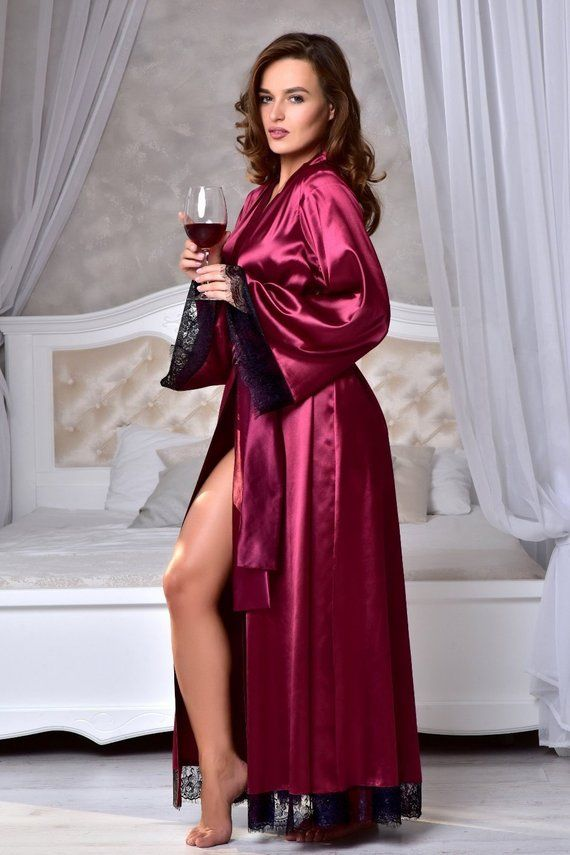 Burgundy kimono bride robe Long bridal robe with lace Satin dressing gown  Long robes for women Wife a2038cfd0