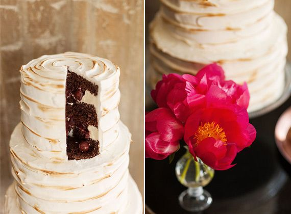 Love the contrast! Yummy cherry cake.| photo by Ashley Ludaescher | styling by Love Circus