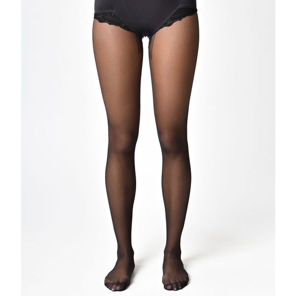 What Katie Did Retro Style Black Seamed Pantyhose ($15) ❤ liked on Polyvore featuring intimates, suspender belt and garter belt