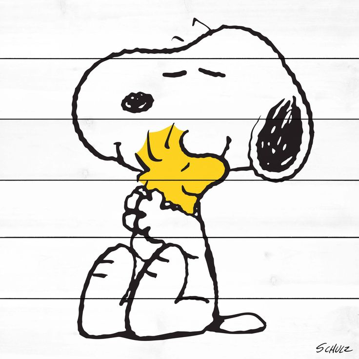 Description: Best friends, Snoopy and Woodstock, are shown hugging in this Peanuts wall art. Woodstock is shown in bright yellow and pops off the white wood background. For the Peanuts collector this