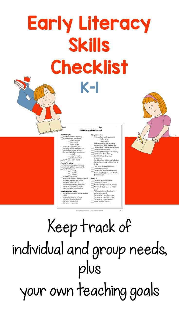 Early Literacy Skills Checklist: K-1. Use this checklist in several ways: •	To identify the needs of an individual student •	To identify the needs of a group •	To keep track of strategies you have taught or plan to teach Enjoy!