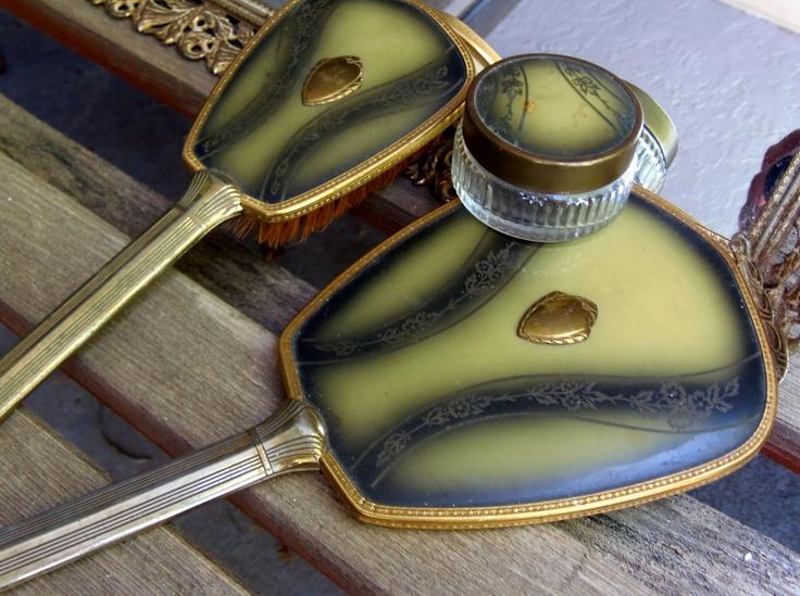 Vanity Set Dresser Set Tray Vanity Set Victorian Vanity Tray Bakelite Vanity Set Art Deco Tray Mirror Brush Jar