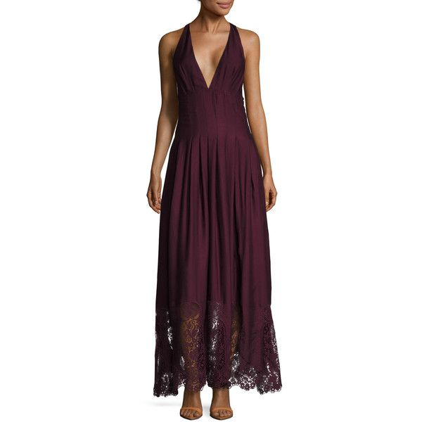The Jetset Diaries Women's Verona Pleated Maxi Dress - Red - Size L ($115) ❤ liked on Polyvore featuring dresses, red, halter-neck maxi dresses, red halter dress, red maxi dress, red a line dress and pleated maxi dress