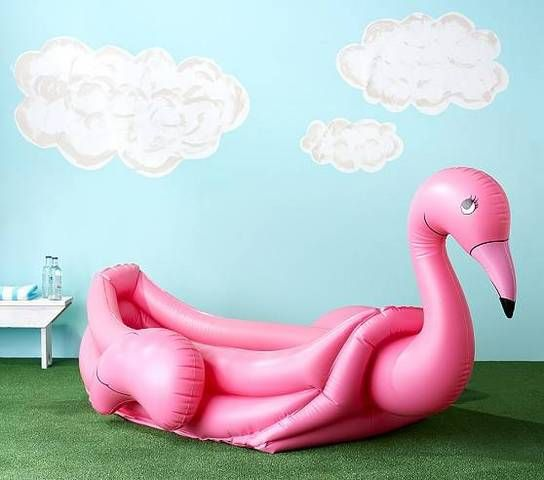 We've all seen the flamingo and swan inflatables for the pool, but here is a kiddie pool version! I might even buy this one for myself!