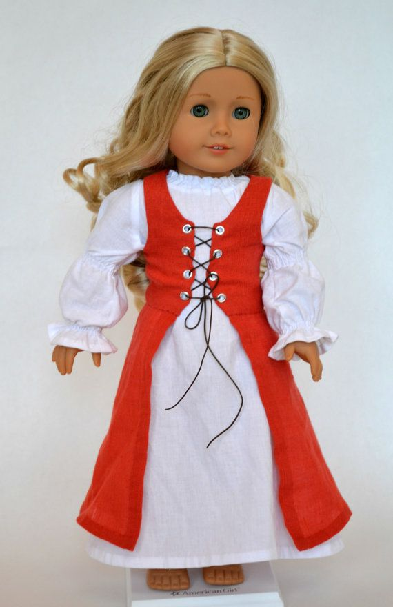 American Girl 18 Inch Doll Medieval Fantasy 2-piece Historical Outfit - Deep Salmon