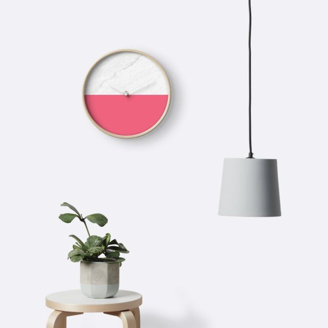 'Marble Pink' Clocks by ARTbyJWP from Society6 #clocks #wallclock #walldeco #marble #pinkandgray #homedecor #walldeco #artbyjwp - Features: Modern printed polypropylene face without plexiglass. Bamboo wood frame with natural finish or painted black or white. 4 customisable metal hand colours to choose from Quartz clock mechanism (AA battery not included). Built in hook at back for easy hanging.