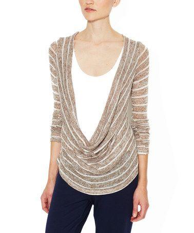 Look what I found on #zulily! Mushroom & White Stripe Knit Sacheon Drape Top #zulilyfinds