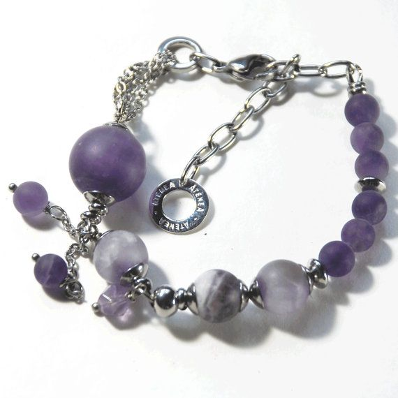 Amethyst graduated bracelet with stainless steel chain & clasp