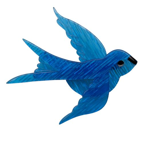 Limited edition, original Erstwilder Bluebird of Happiness brooch in blue. Designed by Louisa Camille Melbourne. Buy now