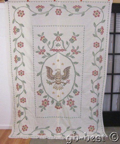 PATRIOTIC American Eagle Cross Stitch Vintage QUILT Top 96 x 68 Vining Border