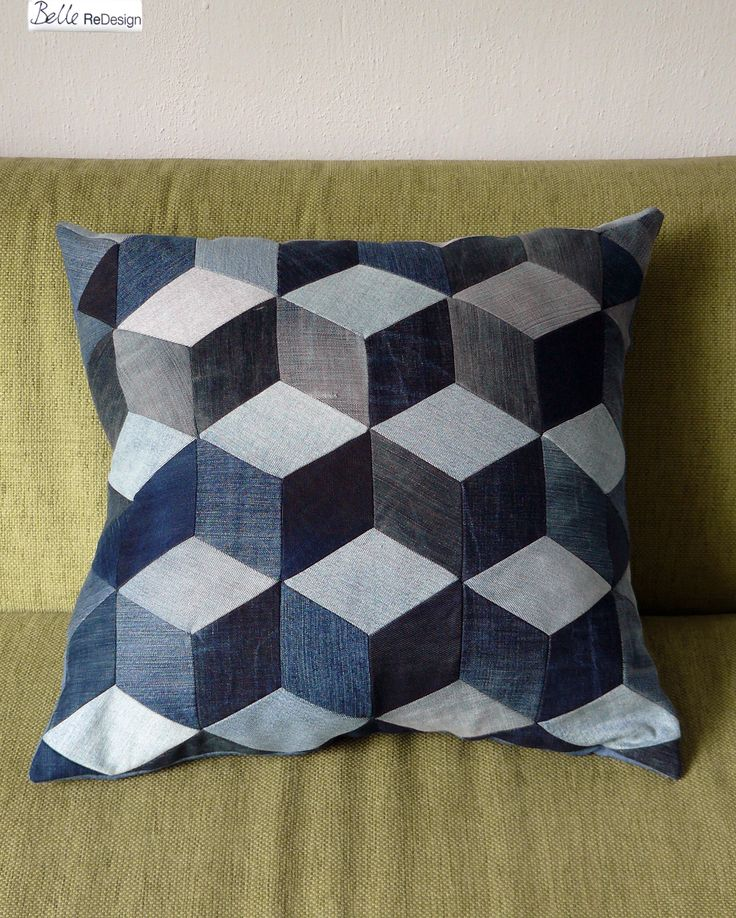 My first patchwork pillow with a cubic pattern. This pillow is made of old jeans.