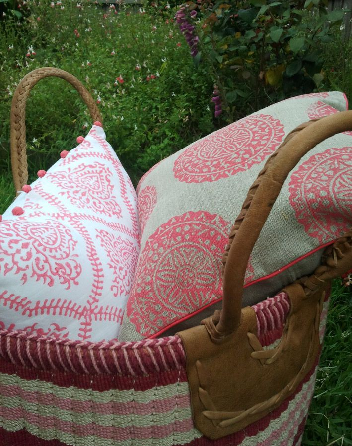 Fancy some pink?? My handblock printed cushions in our rustic laundry/storage basket...our new range check them out on our website at www.shakiraaz.com.au