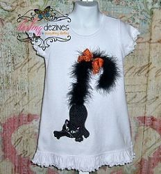 Black Cat Boa Tail Applique - 3 Sizes! | Halloween Applique Machine Embroidery Designs | Machine Embroidery Designs | SWAKembroidery.com