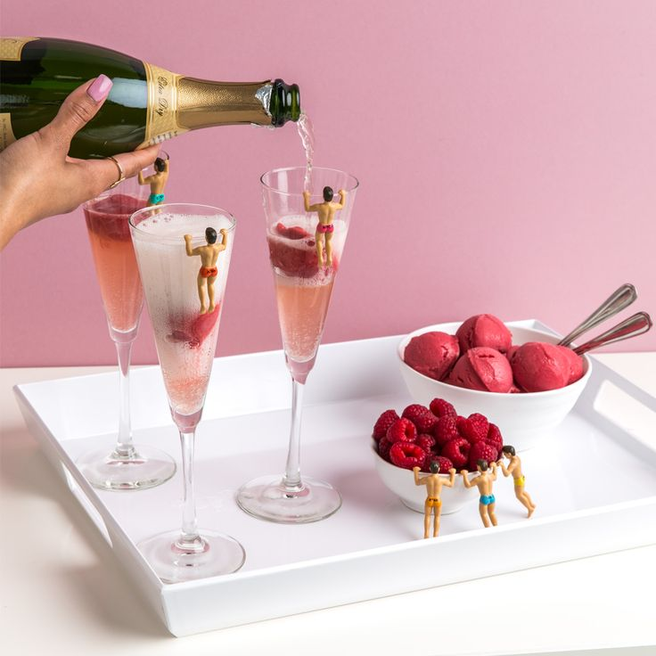 Make Valentine's Day even sweeter with our recipe for Raspberry Champagne Floats.    The essentials: 1 pint raspberry sorbet 1 bottle of your favorite bubbly  1. Freeze 4 oz. individual scoops of raspberry sorbet onto a waxed paper lined cookie sheet. Freeze scoops for a minimum of one hour. 2. Place frozen sorbet scoops into champagne flutes. 3. Pour chilled champagne over sorbet and serve. (Yields 4 drinks)   Garnish with a fun drink marker & enjoy with someone special.