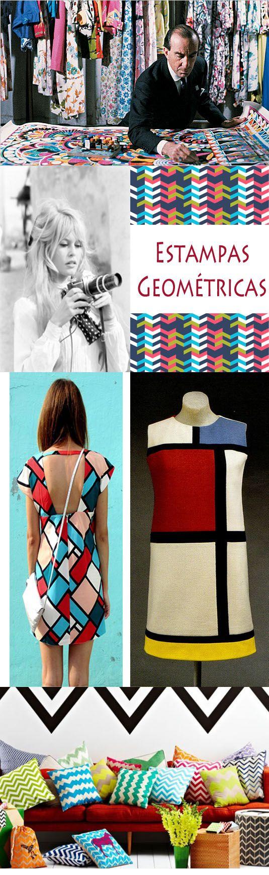 Formas geométricas - Imagine todas as formas geométricas que você conhece, desde quadrados e círculos, até trapézios e retângulos. Inspirada na moda dos anos 60, essas estampas que trazem a diversidade do verão, prometem ser a nova it-print da estação em 2013.