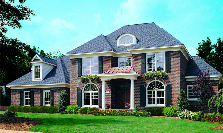 Since porticos have long been used in Ancient Greece and Italy, it only makes sense that portico columns are still popular in modern designs today, highlighting the stately columns signature to their European ancestry. Yet even within this type of portico, there are many variations. Portico Entry - The Santerini #868. http://houseplansblog.dongardner.com/portico-entry-styles/. #HousePlansBlog #PorticoEntry #ColonialHome