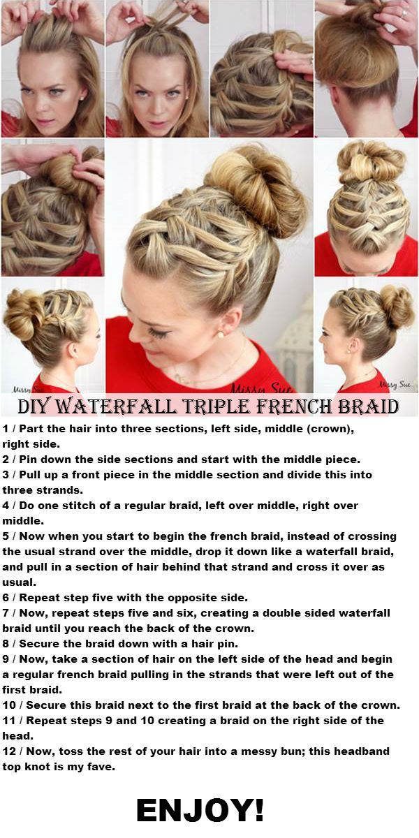 DIY Waterfall Triple French Braid | http://www.doityourselfideaz.com/diy-waterfall-triple-french-braid/