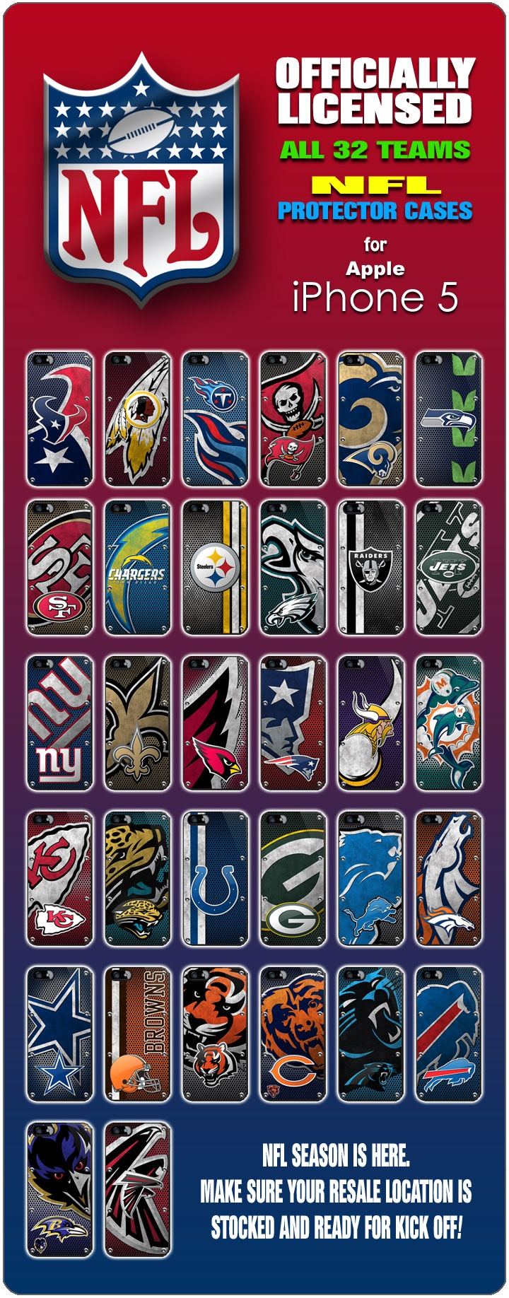 TOUCHDOWN! NFL cases. So cool. Check out the Buccaneers vs. Vikings game tonight!