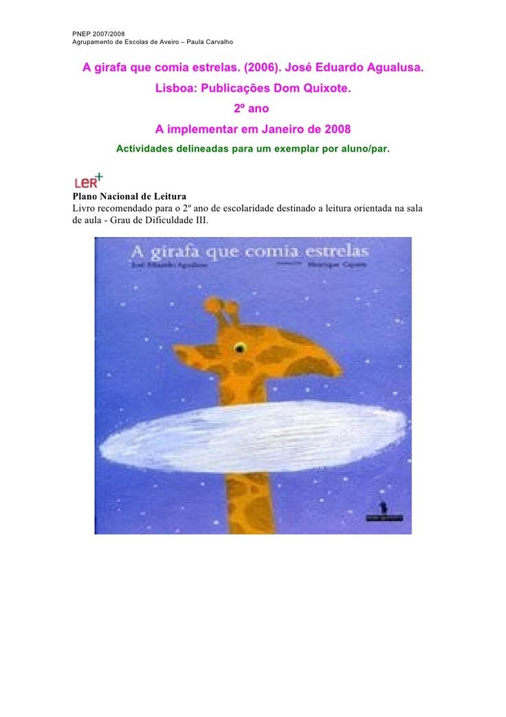 a-girafa-que-comia-estrelas by ana via Slideshare