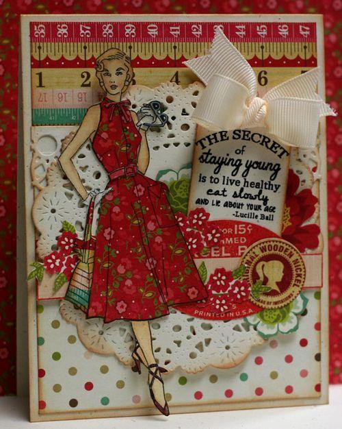 345 best cards w vintage look images on pinterest art cards card style girl has a secret sewing cardsdress cardvintage m4hsunfo