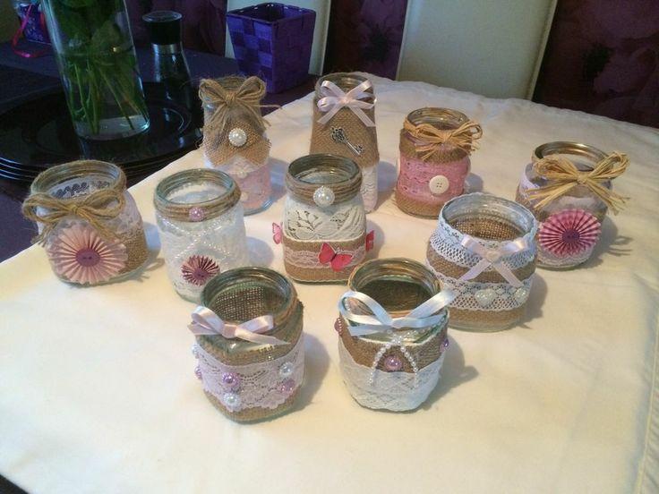 Shabby Chic Vintage Wedding Hand Decorated Glass Jars Light Wedding Ideas Glass Jars Jar