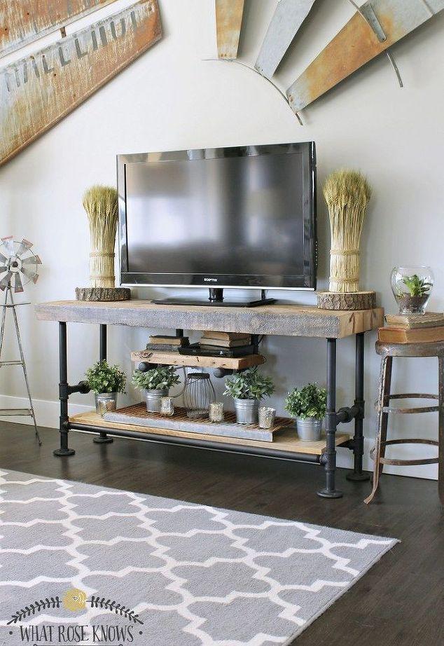 madera recuperada tubo negro, soporte tv, decoración del hogar, ideas de la sala…