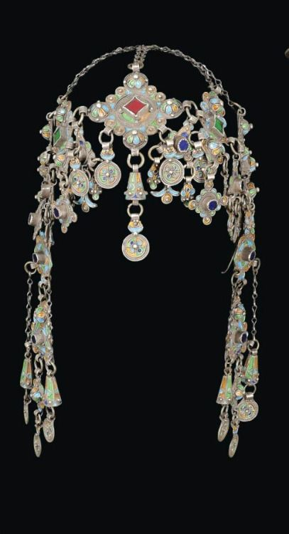 Headdress; silver filigree work, coral and glass insets, enamel, ca. 19th century, Anti Atlas region, Morocco