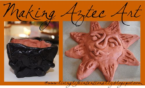 Make Aztec Art with clay to help kids explore early explorers the Conquistadors in Mexico. Great art project for homeschoolers.