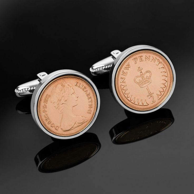 1976 | English half pence cufflinks | Birthday Cufflinks
