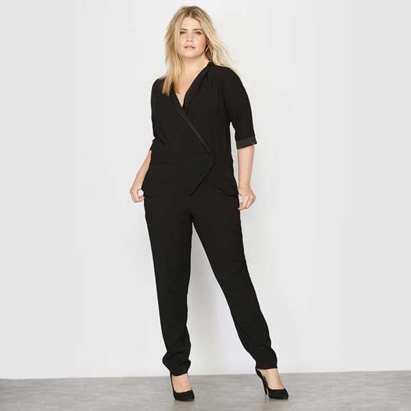 Женский комбинезон черный, классический большие размеры, создан дизайнерами производства, специально для полных женщин. Размеры до 64-го.