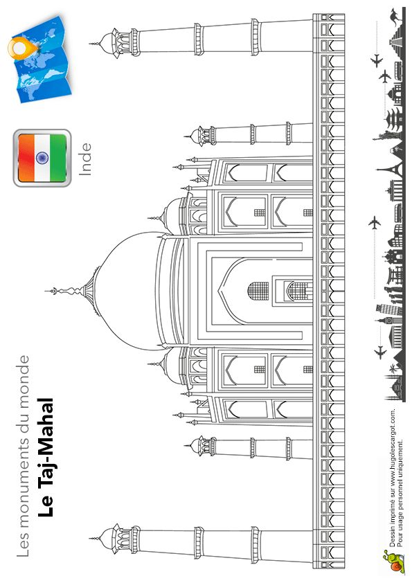 Coloriage du Taj Mahal, un célèbre monument de l'Inde.