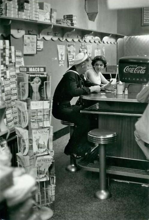 Soda fountain - 1957 - Cherry cokes, lemon cokes, large ice cream sodas, sundaes, parfaits,malts, milkshakes;