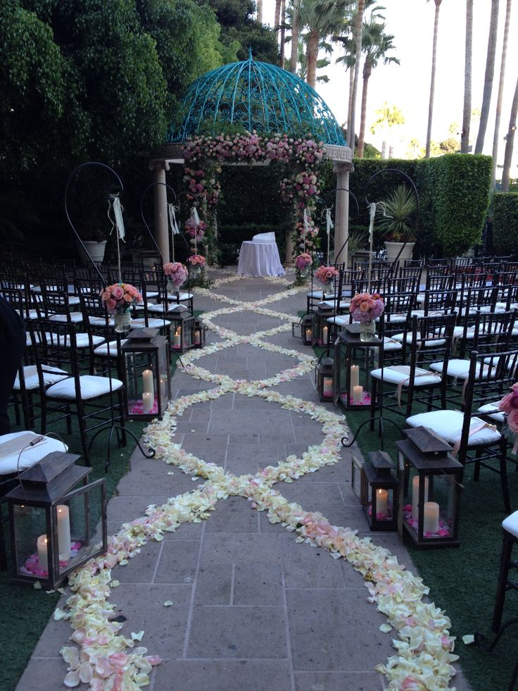 Add a trail of flower pedals and candles to create a romantic ambiance on your special day at The Ritz-Carlton, Marina del Rey.