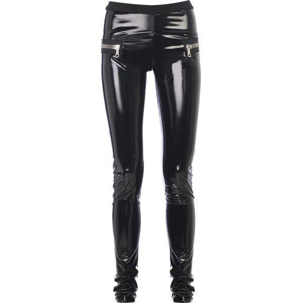 Les Chiffoniers PVC leggings ($200) ❤ liked on Polyvore featuring pants, leggings, bottoms, jeans, black, zipper pocket pants, stretch waist pants, les chiffoniers, pvc leggings and elastic waist pants