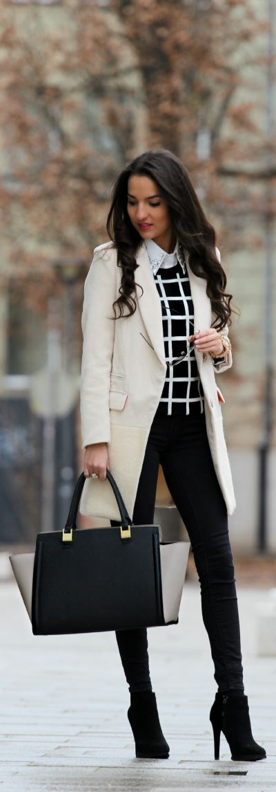 I love this look, with a minor adjustment ~ no leggings for where I've worked ... nice black pants with that sweater and blouse rocks. #PersonalLeadership #Women