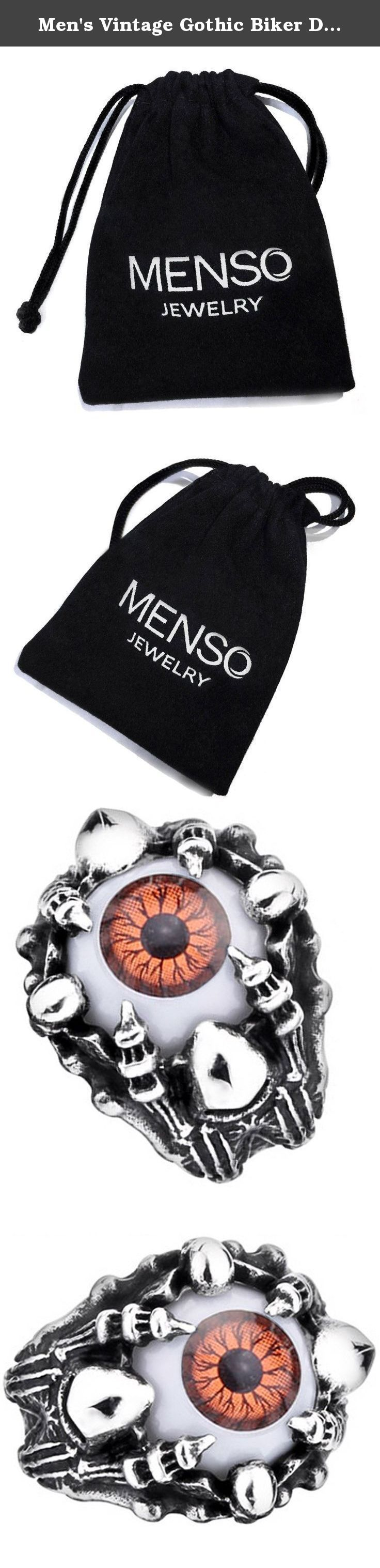 Men's Vintage Gothic Biker Dragon Claw Evil Devil Eye Skull Stainless Steel Ring Brown White Black Silver Size 12. MENSO - High quality Jewelry Discover the MENSO Collection of jewelry. The selection of high-quality jewelry featured in the MENSO Collection offers Great values at affordable Price, they mainly made of high quality Stainless Steel, Tungsten, Silver and Leather. We uphold the highest standard of integrity,professionalism and customer service. In addition to unique...