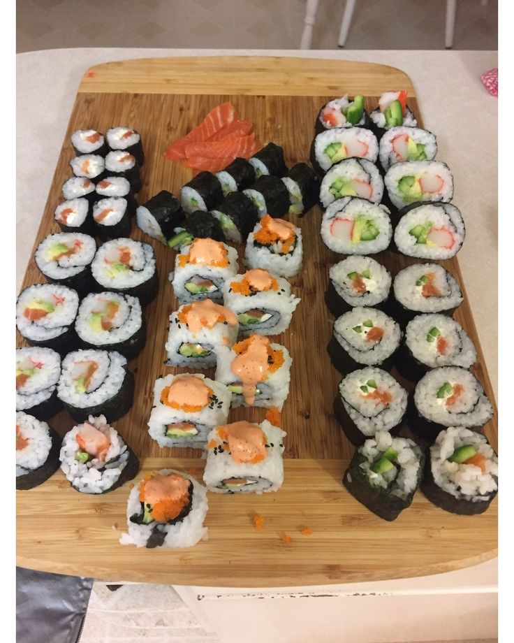 Sushi rolls - Philadelphia California salmon and leftover ingredients roll. Yum! #foodfrique #sushirolls #sushi #salmonsushi #salmon #sushitime #sushilovers #sushiporn #sushibar #sushilover