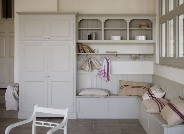 Tall cupboard as the pantry cupboard for kitchen. Love door design.  Plain English