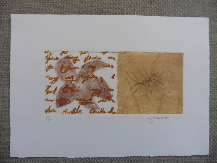 Grabado, calcografía: Estudio de Flores de ElCuadernoDeNacar en Etsy