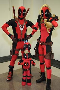 Deadpool family cosplay.