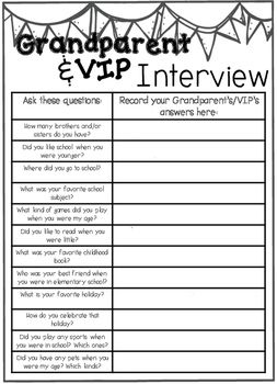 When you download this product, you will receive a Grandparents Day Interview. This product can also be used for student's VIPs! This is an activity I used with my 1st grade students on Grandparent's Day! They loved getting to know their grandparents and special friends (VIP) better with these fun interview questions!
