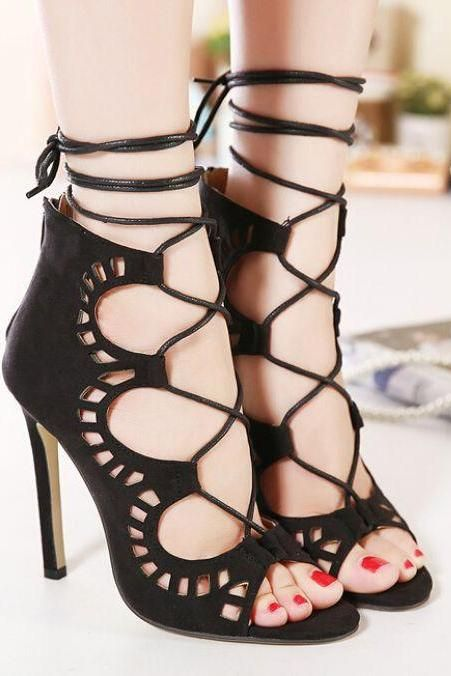 Classy Black Peep Toe Fashion Shoes