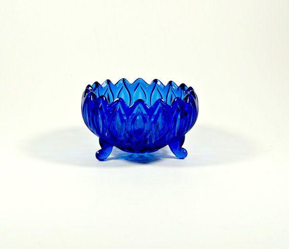 Blue Glass Bowl Glass Serving Bowl Vintage by DKVINTAGEGALLERY