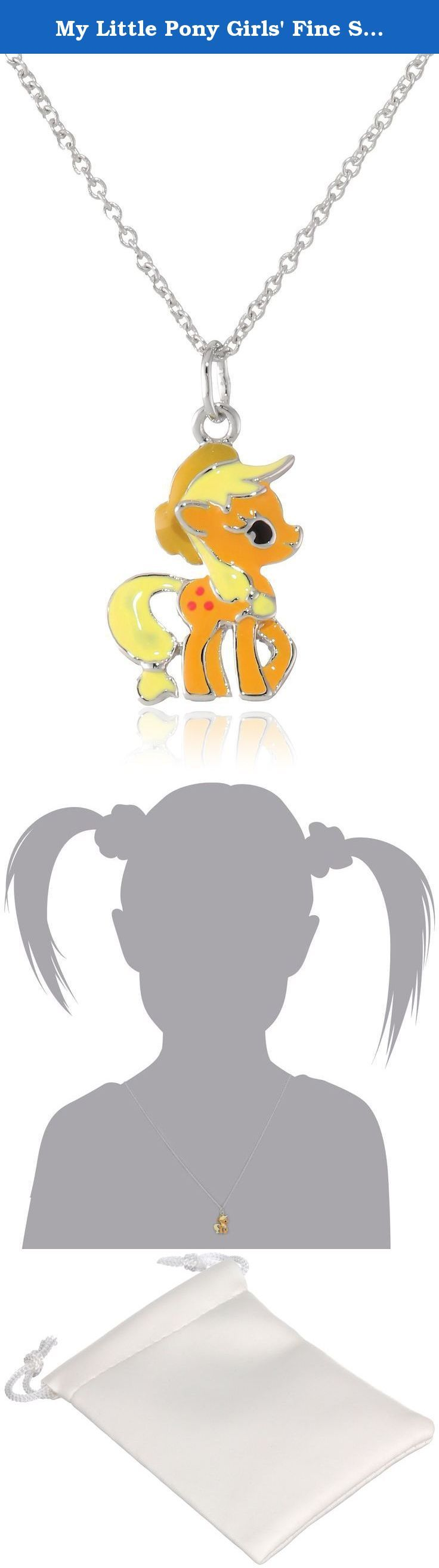 """My Little Pony Girls' Fine Silver-Plated Applejack Pendant Necklace, 18"""". Rolo chain necklace in silver-plated finish featuring pendant of the pony Apple Jack with multi-tone epoxy filling. Spring-ring clasp closure. Imported."""