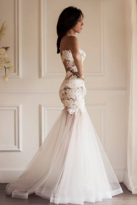 I LOVE the shape of this dress. It cuts exactly how I like, but I do not like the material or anything else...Sexy Scoop See-through Mermaid Organza Wedding Dress