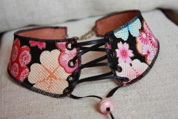 Collier corset en tissu japonais noir kawai, nouveau système réglabl