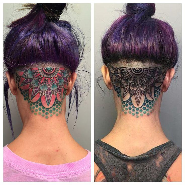 head tattoo mandala tattoo by Jessica White. Sacramento, California. Reclamare Gallery and Custom Tattoo.