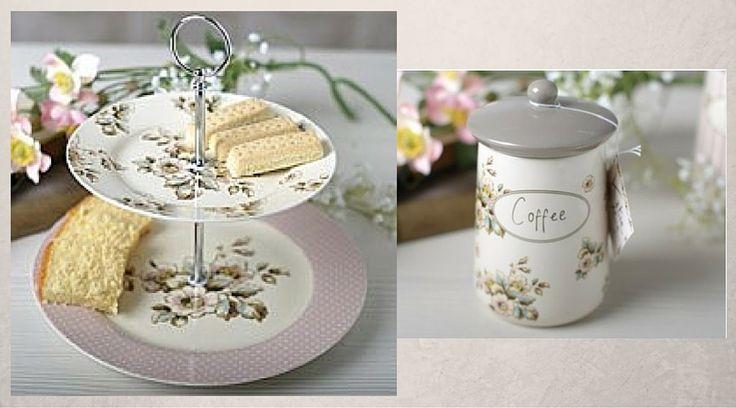 Εταζέρα δύο επιπέδων και δοχείο καφέ, Cottage Flower, Creative Tops. Περισσότερα για τη σειρά εδώ http://www.parousiasi.gr/?s=cottage+flower&submit.x=0&submit.y=0&post_type=product