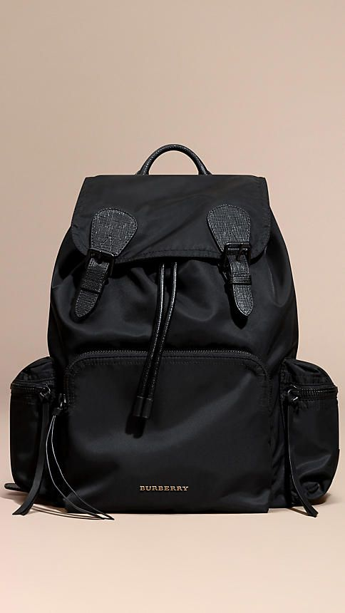 957d9fe71596 The Large Rucksack in Technical Nylon and Leather Black - Burberry ...